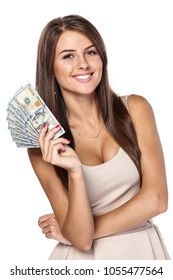 Smiling woman with us dollar money in hand over white background