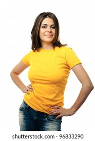 smiling woman white background isolated