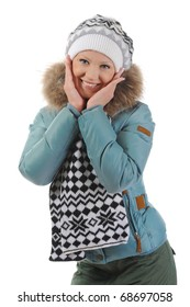 Smiling woman in winter style. Isolated on white background