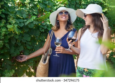 Smiling women drinking wine and looking at grapes in vineyard. Two girls with wineglasses walking in nature and laughing.