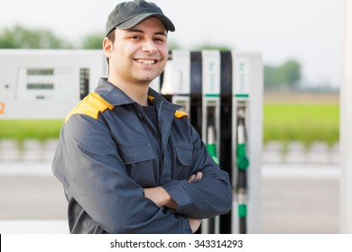 Smiling worker at the gas station
