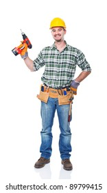smiling worker with red drill on white background