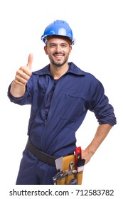 Smiling worker thumbs up on white background