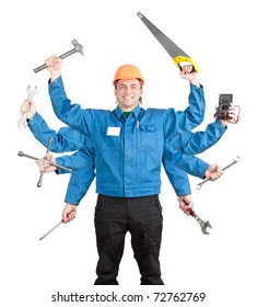 Smiling worker with tools in many hands. Isolated on white
