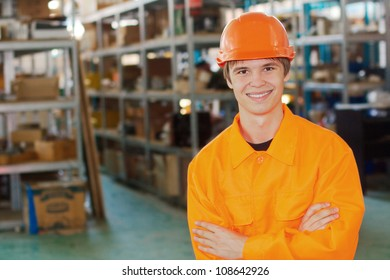 Smiling worker at a warehouse