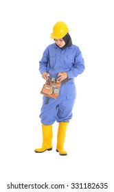 smiling constructor worker woman standing isolated on white background