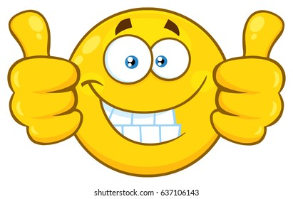 Smiling Yellow Cartoon Emoji Face Character Giving Two Thumbs Up. Raster Illustration Isolated On White Background