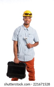 Smiling Young African American  Worker Holding Toolbox and Wrench Isolated on White Background