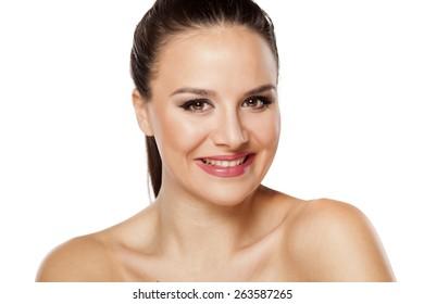 Smiling  young beautiful woman looking at camera