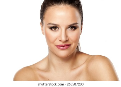 Smiling  young beautiful woman looking at camera