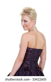 smiling young blond woman in a purple corset dress