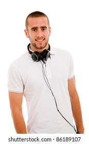 Smiling young boy with headphones around his neck, isolated on white