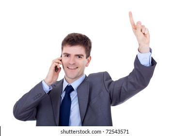 smiling young business man discussing on a cell phone, isolated on white background