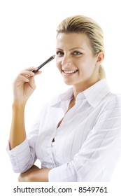 smiling young business-woman holding pen