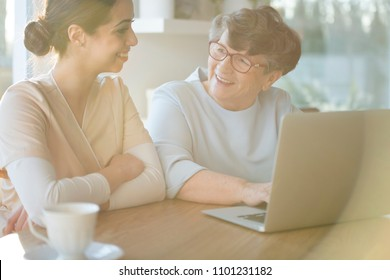 Smiling young caretaker sitting by a table and helping an elderly woman with using a laptop and finding information on the Internet