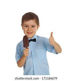 Smiling young Caucasian boy holding ice cream.isolated on white