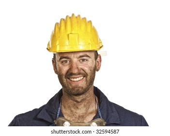 smiling young caucasian labourer heavy industry manual worker