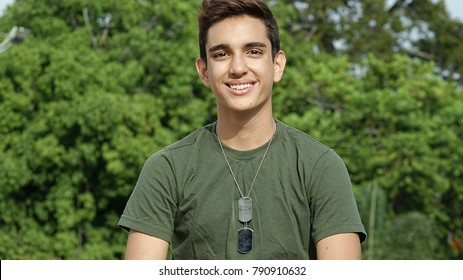 Smiling Young Colombian Male Soldier