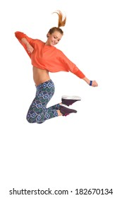 Smiling young female jumping dancing zumba. Full length studio shot on white background.