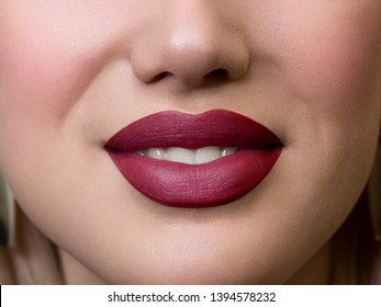 Smiling young girl. Beauty face closeup. Sexy lips. Beauty pink lip makeup detail. Beautiful make-up close-up. Sensual open mouth with tongue. Lipstick and lipgloss