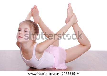 dcd8da8eb Smiling Young Girl Doing Gymnastics Isolated Stock Photo (Edit Now ...