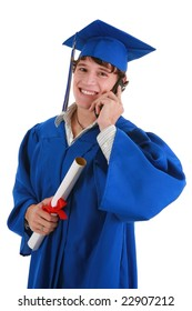 Smiling Young Male College Graduate Making Phone Call on Isolated background
