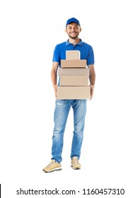 Smiling young male postal delivery courier man with delivering package. Full length portrait isolated on white background