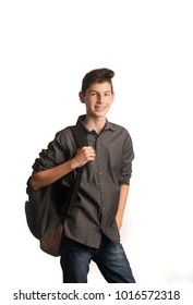 Smiling young man with backpack