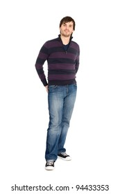 Smiling young man in full length isolated on white background.