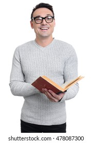 Smiling young man holding a book isolated on white background