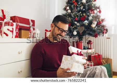 Young man christmas gift
