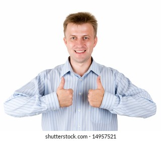 smiling young man with thumbs up on a white background