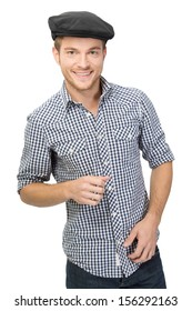 Smiling young man wearing black flat cap