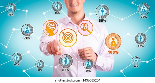 Smiling young marketing manager identifying the ideal customer via AI interface. Business concept for CRM, targeting, prospecting, lead identification, artificial intelligence, market segmentation.
