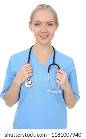 Smiling young nurse portrait isolated over white background.