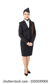 Smiling young stewardess isolated on white