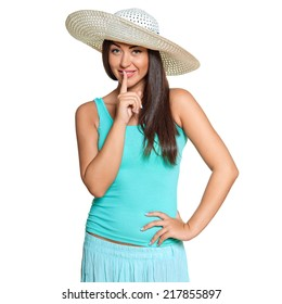 Smiling young sun-tanned woman in  tshirt and straw hat   isolated on white background