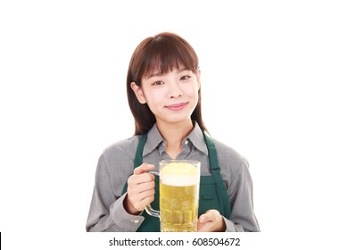 A smiling young waitress