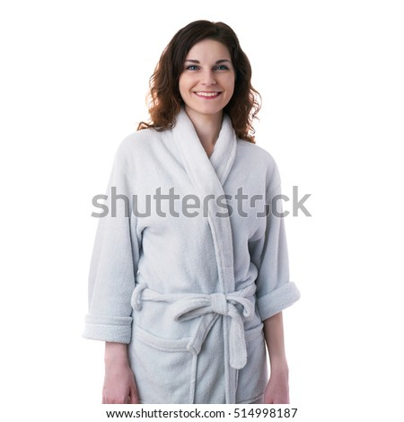 ... Smiling young woman in bath robe over white isolated background  morning 5377456c4