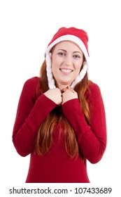 smiling young woman at christmastime in red clothes isolated on white