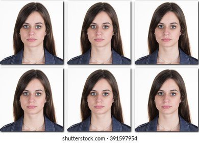 Smiling young woman or girl, teen face and shoulders id or collage for USA passport