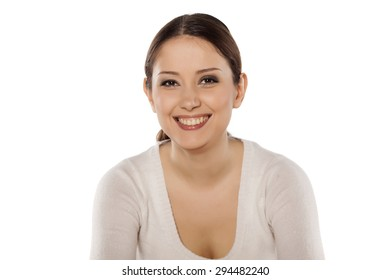 smiling young woman on a white background
