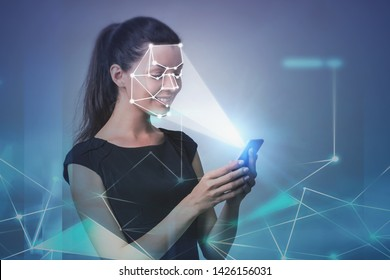 Smiling young woman with smartphone. Face recognition and biometric verification interface, network hologram. Concept of cyber security and AI. Toned image double exposure