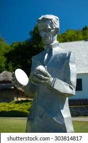 Smiljan, Croatia - July 11, 2015: Nikola Tesla sculpture by Mile Blazevic, Memorial Centre in Smiljan, Lika.