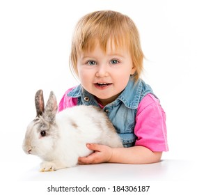 smilling baby and easter bunny on white background