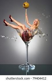 Smilng girl fall in martini glass