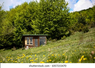 Smilyo shelter on the South slopes of Vitosha Mountain, May 14,2017: National Park Vitosha, Sofia, Bulgaria. Vitosha is a mountain massif on the outskirts of Sofia, Bulgaria.