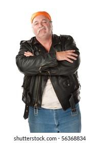 Smirking biker gang member with leather jacket