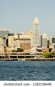 Smith Tower and Seattle Waterfront in Seattle, Washington, USA on 5th August 2018