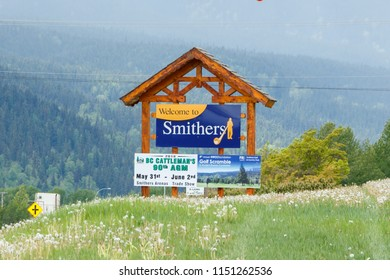 Smithers, Canada - Circa 2018 : Welcome to Smithers Sign